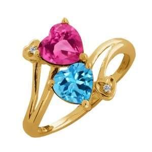 1.91 Ct Heart Shape Pink Mystic Topaz and Swiss Blue Topaz