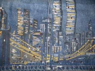PRE 911~NEW YORK CITY SKYLINE TWIN TOWERS DENIM SKIRT