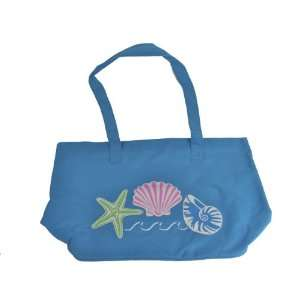 Canvas Tote Bag w/ Sea Shell Design   Blue Office