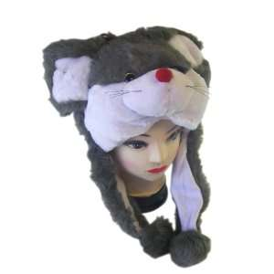 Plush Mouse Animal Hat   Mouse Hat with Ear Flaps and Poms