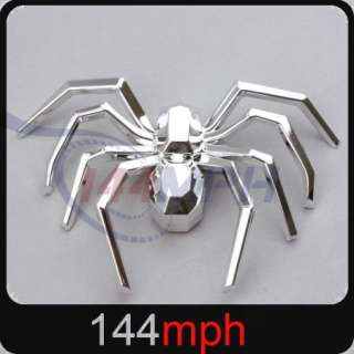 Car 3D Spider Logo Badge Emblem Decal Sticker Silver