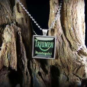 Triumph Motorcycles Retro Sign Biker Chopper Silver Pendant Necklace S