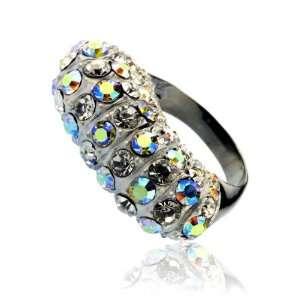 Trendy Matt Silver Aurora Borealis Crystal Ring Size 9 Fashion Jewelry