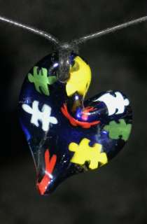 AUTISM SPEAKS autism awareness glass pendant bead puzzle piece
