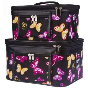 Two Colorful Butterfly Train Cases Cosmetic Makeup Beauty