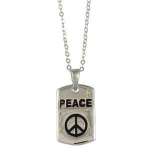 La Preciosa Sterling Silver Black Enamel Peace Necklace