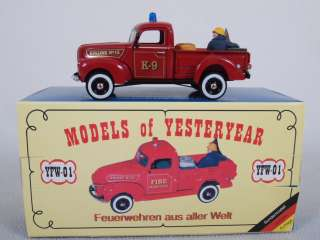 Matchbox YFW 01 Code 1 Promo K 9 Fire Engine 1940 Ford Pickup Truck