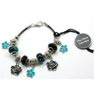 TOC BEADZ Branded Black Rose Bead Bracelet Jewelry