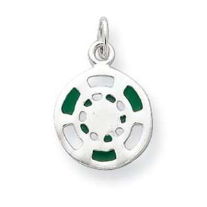 Jewelry Gift Sterling Silver Green/White Enameled Poker Chip Charm