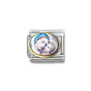 Mary Holding Child, Christian, Religious Theme Italian Charm Jewelry
