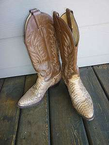 JUSTIN Toffee stitched Leather & Tan Snake Skin Western Boots