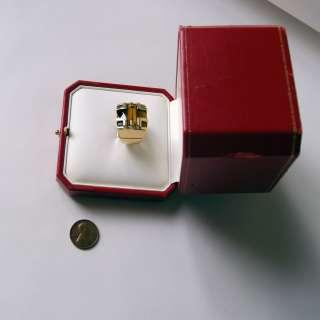 Yellow Gold Tigers Eye Mens ring Baiser Du Dragon size 8.5