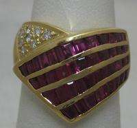 Beautiful Estate 3c Ruby Diamond 18k Gold Cocktail Ring