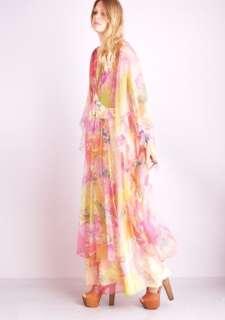 WATERCOLOR KIMONO Angel Slv Chiffon SHEER Hippie Tie Dye Maxi DRESS