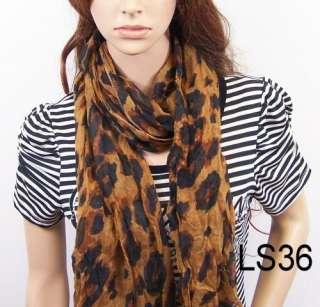 New fashion girls leopard print scarf womens scarves shawl wrap
