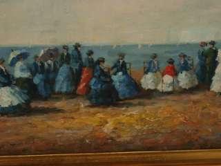 Gilt Framed Impressionist Beach Scene Oil Painting