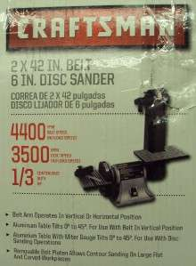 Craftsman 1/3 hp Electric Belt/Disc Sander. Model # (21513) NOTE