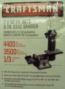 Craftsman 1/3 hp Electric Belt/Disc Sander. Model # (21513) NOTE