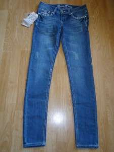 12K booty jeans SKINNY low rise CROSS crystal SPARKLE 34 bling 13