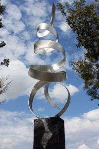 Abstract Metal Art Decor Outdoor Sculpture Silver Sea Breeze