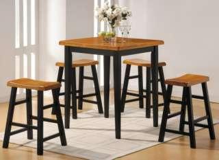 Modern Retro Oak Black Kitchen Dining Room Set Table 5P