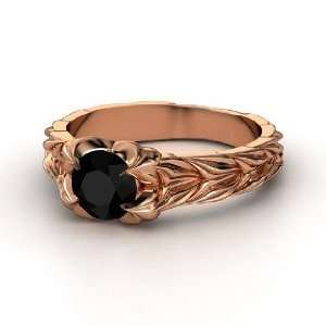 Rose and Thorn Ring, Round Black Onyx 14K Rose Gold Ring