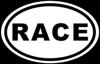 RACE Sticker White Oval o JDM Car Window Decal Track