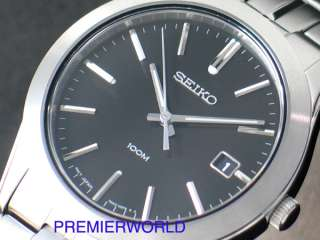 SEIKO MENS 100M SAPPHIRE CRYSTAL SS BLACK WATCH SGEE43