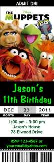 The Muppets Movie Kermit the Frog Birthday Party Ticket Invitations
