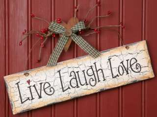 Live Laugh Love Wood Wall Sign Home Country Sentimental Decor11 x