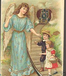 GUARDIAN ANGEL PROTECTS CHILDREN,TRAIN,VINTAGE POSTCARD