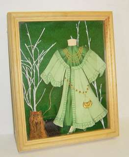 Vintage Victorian Paper Doll Dress Framed Wall Hanging
