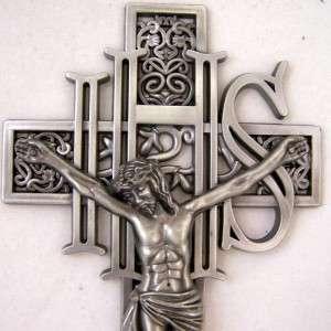 Silver IHS Wall Cross Jesus Christ Crucifixion Crucifix