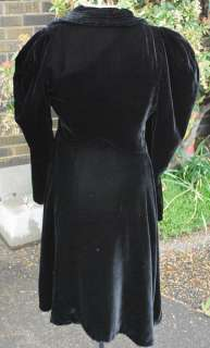 Antique Victorian Opera Black Velvet Coat Puffed Sleeves Shoulders
