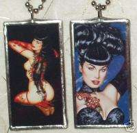 BETTIE PAGE SEXY TATTOO GLASS ART PENDANT/NECKLACE