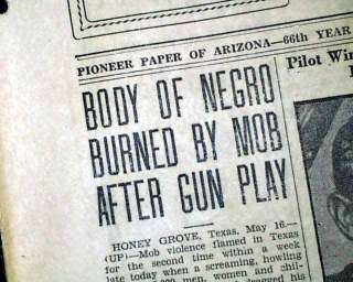 GROVE TX Texas NEGRO Lynching Sam Johnson 1930 Old Newspaper