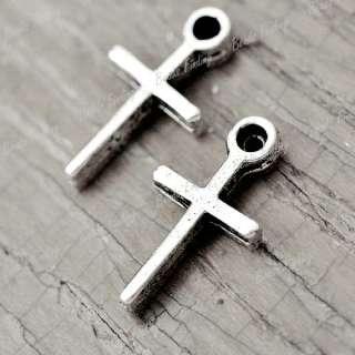 150pcs Hot Tibetan Antique Silver Cross Religious Charms Fit Necklace