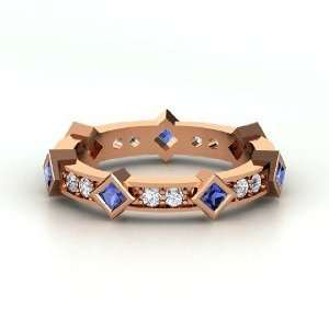 Princess in the Round Ring, 14K Rose Gold Ring with Sapphire & Diamond