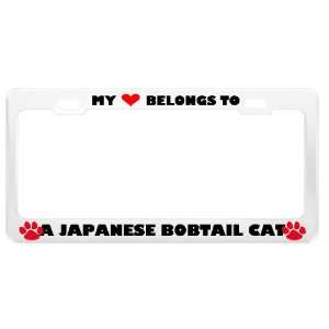 A Japanese Bobtail Cat Pet White Metal License Plate Frame