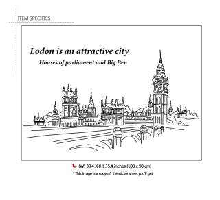 BIG BEN Mural Art DIY Wall Sticker Vinyl Decal BIG SIZE