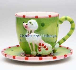 Ruby White POODLE Dog Green Coffee Tea Cup & Saucer Teacup Set