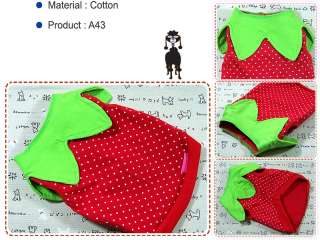 Small Dog&Cat Clothing A43,Strawberry Costume Shirts
