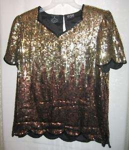 Anthony Mark Hankins Black Gold Sequin Silk Blouse   M