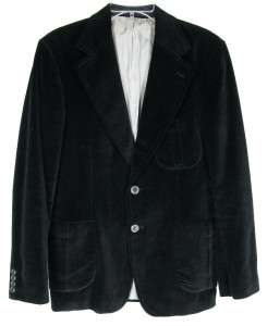 AMAZING 60s VTG Mens BLACK VELVET BLAZER Sport Coat Jacket DOUBLE VENT