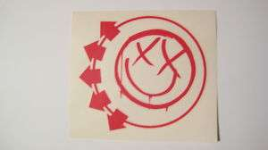 Blink 182  Red Logo Smiley Face Sticker, Rub On