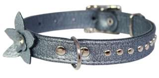 Leather Dog Collar Blink Crystal Diamante Flower Silver