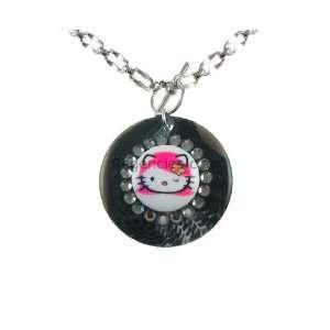 Tarina Tarantino Hello Kitty Pink Head Swirl Necklace   Black Diamond