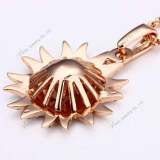 18K Rose Gold Citrine&Swarovski Crystal Necklace N025