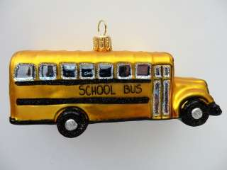 SCHOOL BUS EUROPEAN BLOWN GLASS CHRISTMAS TREE ORNAMENT