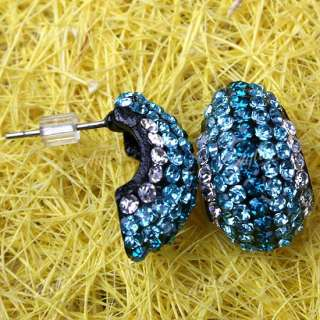 Blue Crystal Rhinestone Moon Beads Stud Earring 1 Pair